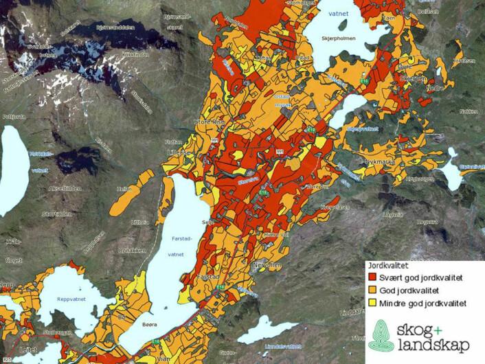 Jordkvalitetskart for Vestvågøy som viser hvor den beste matjorda befinner seg. Det vil si hvilke arealer som er best egnet til allsidig jordbruksproduksjon. Slike jordsmonnkart kan være et hjelpemiddel for å forhindre nedbygging av verdifull jordbruksjord. (Foto: Skog og landskap)