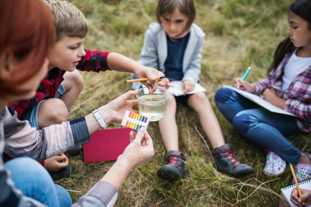 Barn bruker sansene og kroppen når de får uteundervisning.