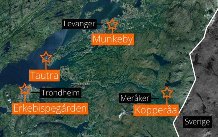 Kartet viser funnstedet i Kopperåa, middelalderens cistercienserkloster ved Trondheimsfjorden og erkebiskopens sete i Nidaros. (Foto: (Kart: Google Maps/tilpasset forskning.no/Per Byhring))