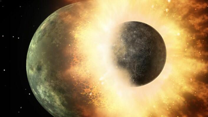 Sånn kan det ha sett ut da jorda og Theia smalt inn i hverandre i 4,5 milliarder år siden. (Foto: NASA)