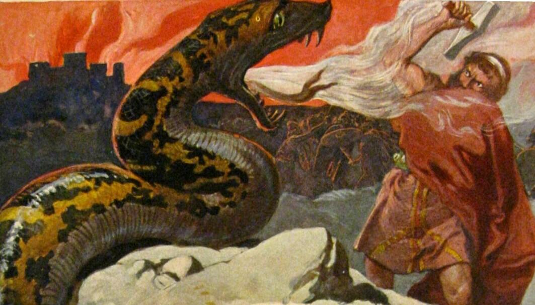 I vikingtiden var dyr og mennesker både venner, hjelpere og fiender. En av guden Tors største fiender var Midgardsormen. Når ragnarok kommer, skal de drepe hverandre, ifølge norrøn mytologi.