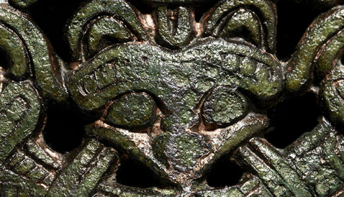 Hvis vi ser nærmere på draktspennen ser vi at den er dekorert med et slags revelignende hode.