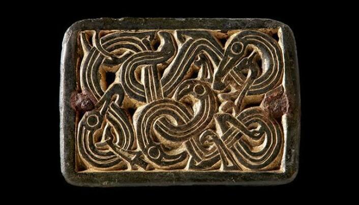 Spenne med slangelignende dyr fra merovingertid (ca. 550-800 e.Kr.). Spennen er laget av kobberlegering og er forgylt med gull. Den har opprinnelig vært festet til seletøy eller et belte med små nagler i hjørnene, men har senere fått en nål montert på baksiden og blitt brukt som spenne, antagelig på en kvinnedrakt.