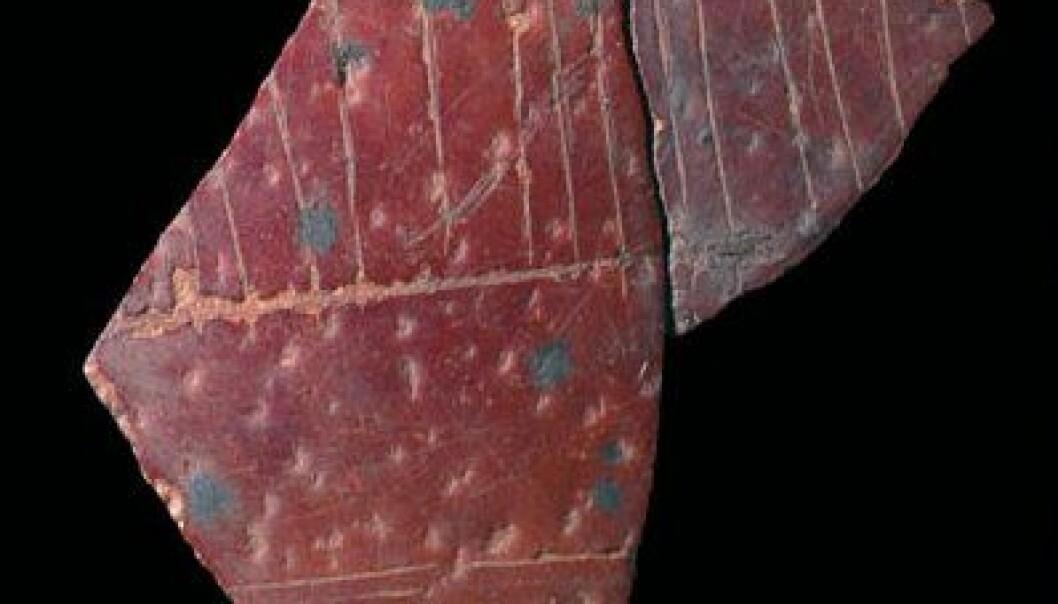 Fragment av gravert eggeskall fra struts, datert til å være 60 000 år gammelt og funnet i Sør-Afrika. (Foto: Pierre-Jean Texier, Diepkloof project)