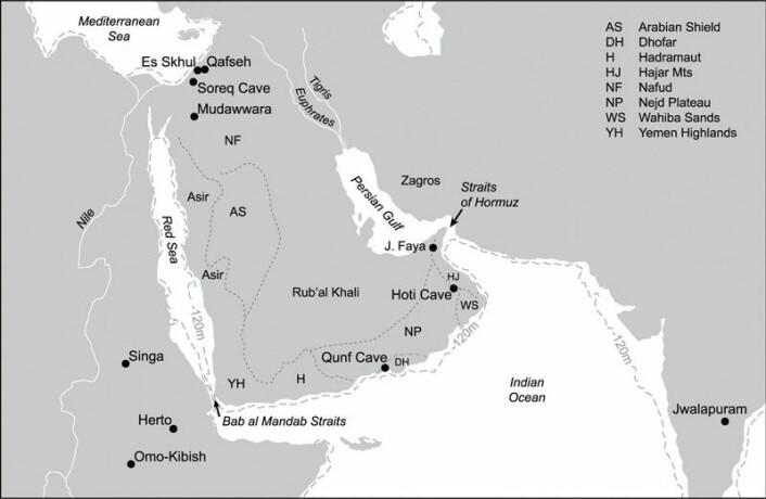 Kartet viser hvor Jebel Faya (J. Faya) ligger i forhold til andre steder der det er gjort steinalderfunn i regionen. Jebel Faya ligger som kartet viser strategisk til mellom Afrika og Øst-Asia og kan ha vært et springbrett for mennesker som vandret ut fra Afrika. Den stiplede streken viser historisk kystlinje ved 120 meter lavere havnivå enn i dag. Klikk på forstørrelsesglass for større versjon. (Illustrasjon: Science/AAAS)