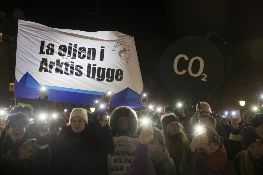 I 2019 ble det arrangert markeringer over hele Norge til støtte for Klimasøksmålet mot staten. Her fra Eidsvolls plass i Oslo. Til slutt tapte klimaaktivistene i Høyesterett.