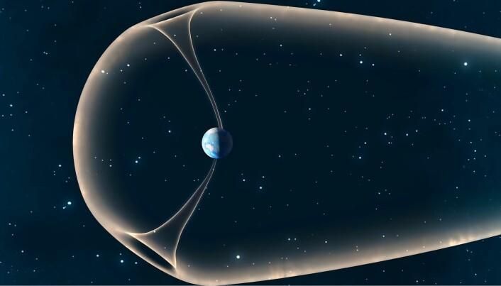 Slik ser en kunstner for seg at denne lekkasjen ser ut. Molekyler fra atmosfæren sendes ut i to fontener, og dette står for rundt 90 tonn med tapt atmosfære om dagen.