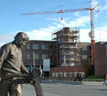 """""""Arbeidsmarkedet i Finnmark er i endring. Det bygges mye i byene, og arbeidskraften følger etter. Her ses Sentrumsparken i Alta."""""""