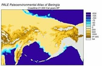 Beringlandbroen for 21 000 år siden.