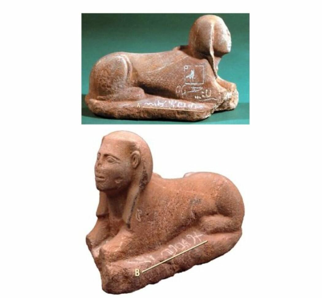 """Sfinksen ble nøkkelen til å forstå Serabit-alfabetet. På den ene siden av sfinksen står det skrevet med hieroglyfer <span class=""""italic"""" data-lab-italic_desktop=""""italic"""">«Den elskede Hathor, Fruen av turkisene».</span> Slik ble det mulig å forstå at det på den andre siden av sfinksen sto <span class=""""italic"""" data-lab-italic_desktop=""""italic"""">«Elskede Baal» </span>(«Elskede Baalat») skrevet med de nye bokstavene."""