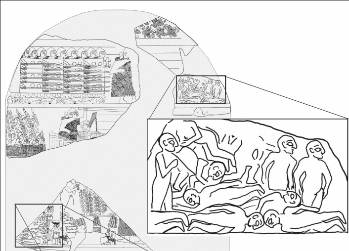 Et utdrag fra «Gribbenes stele» som viser massegraver i forbindelse med slag.