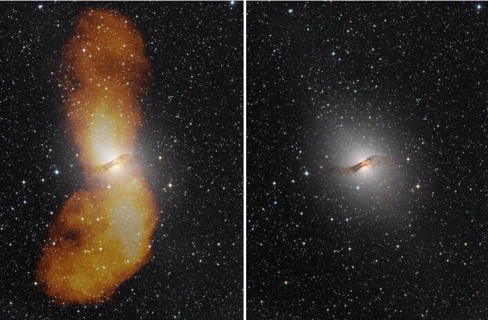 Det første bildet viser de store flippene som omgir Centaurus A, fanget opp av radioteleskoper. Flippene er det som synes i oransje farge i bildet som er satt sammen av data fra optisk lys og radiobølger. Det andre bildet viser galaksen slik den viser seg i synlig lys. (Foto til venstre: Capella Observatory (optisk), med radiodata from Ilana Feain, Tim Cornwell og Ron Ekers (CSIRO/ATNF), R. Morganti (ASTRON) og and N. Junkes (MPIfR). Foto til høyre: Capella Observatory)