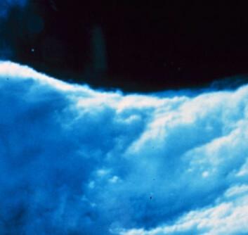 """""""I orkanens øye er det skyfritt og vindstille, mens i øyeveggen raser den verste vinden. Foto: NOAA"""""""
