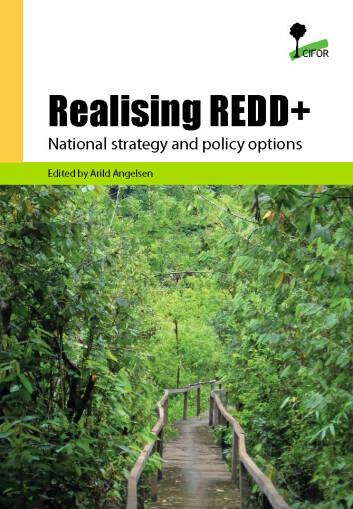 """Illustrasjon forside av boka """"Realising REDD """" ."""