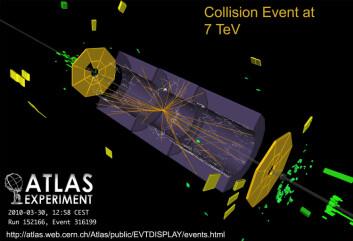 Den historiske første protonkollisjon ved 7 teraelektronvolt, registrert av ATLAS-detektoren i CERN. Her et bilde fra like etter sammenstøtet, med linjer etter elektrisk ladde partikler som blir slengt i mange retninger - Et fingeravtrykk for et eller annet, vi vet ikke helt hva ennå, sier Bjørn Samset.  (Foto: CERN)