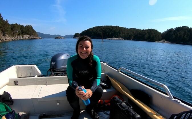 Ph.D candidate Angela Martin during fieldwork in Austevoll, Norway.
