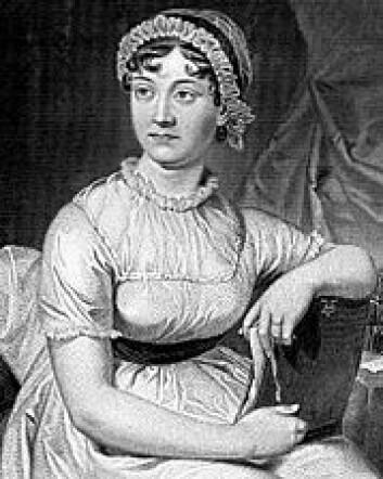 """""""Jane Austen ble tegnet av søsteren Cassandra. Dette er en gjentegning fra 1873. (Kilde: Wikimedia Commons)"""""""