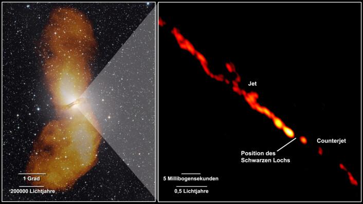 Her ser du bildet av de store flippene, ved siden av det nye bildet fra TANAMI som viser de innerste delene av jetstrømmene. Dette er det skarpeste bildet som noen gang er tatt av jetstrømmene til et sort hull. Tilsammen strekker den oransje streken seg over 4,16 lysår. (Foto til venstre: Capella Observatory (optisk), med radiodata from Ilana Feain, Tim Cornwell, og Ron Ekers (CSIRO/ATNF), R. Morganti (ASTRON), and N. Junkes (MPIfR). Foto til høyre:  NASA/TANAMI/Müller et al)