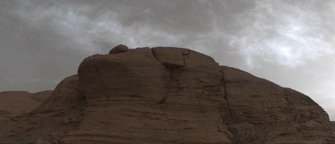 Dette er altså en skyete himmel på Mars, sett av Curiosity.