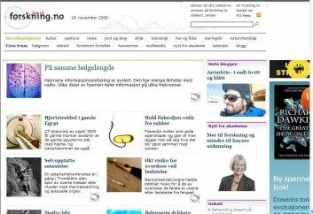Skjermdump av forskning.no 19. november 2009.