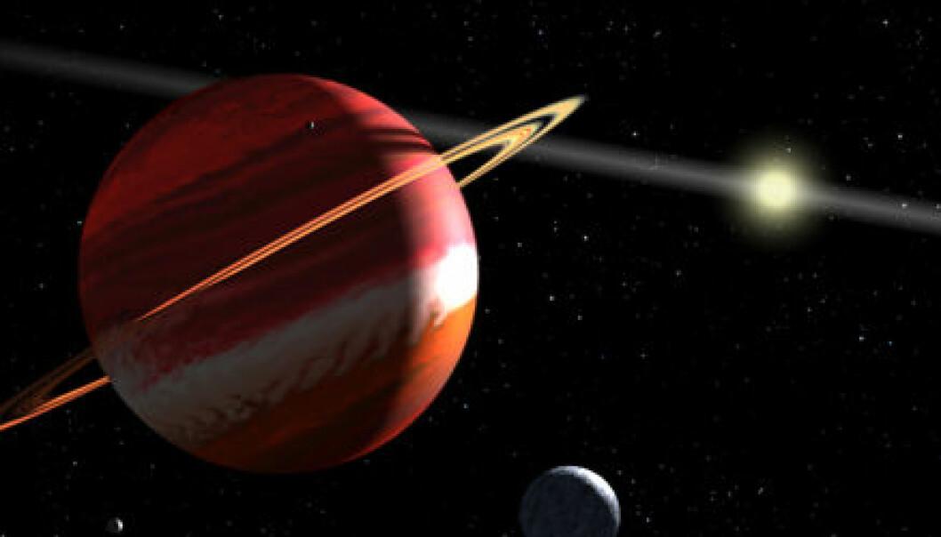 """""""Epsilon Eridani b med stjerna i bakgrunnen. Når du kikker mot stjerna fra området rundt planeten, ser du rett på kortsida av skiva med støv og gass. Derfor synes den bare som en strek."""""""