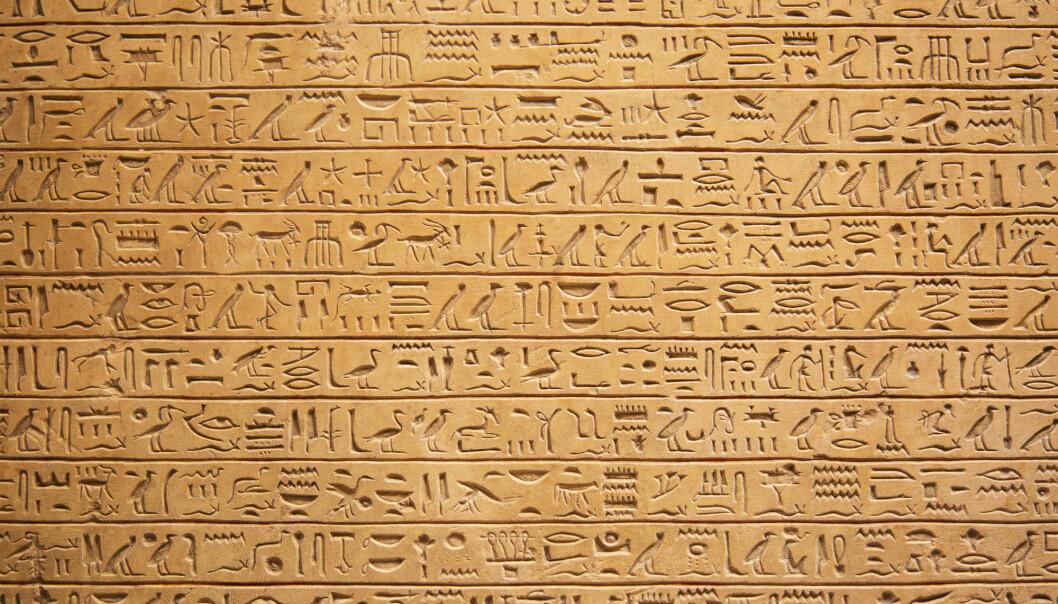 En tekst skrevet med hieroglyfer.