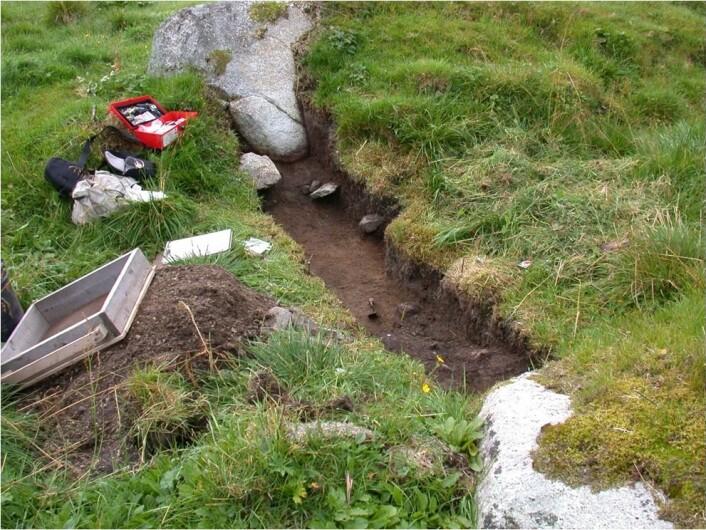 Restene av jernaldernaustet på Borg i Lofoten. (Kilde: Stephen Wickler)