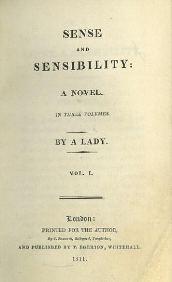 """""""Førsteutgaven av romanen Fornuft og følelser. Austen hadde ikke sitt eget navn på bøkene, men skrev ofte """"By a lady"""". (Kilde: Wikimedia Commons)"""""""