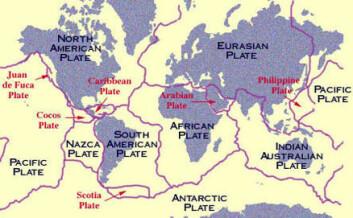 """""""Jordskorpeplatene slik de ligger i dag. (Illustrasjon: NASA)"""""""