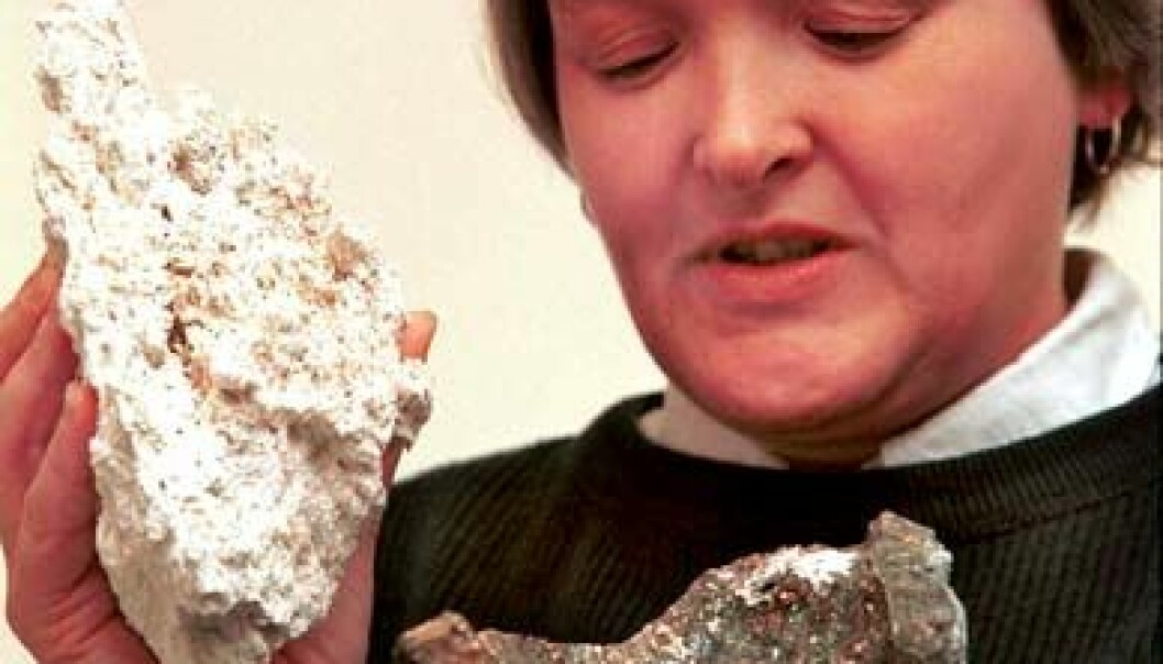 """Deborah Kelley viser en stein fra Lost City og en fra en black smoker. (Foto: University of Washington)"""