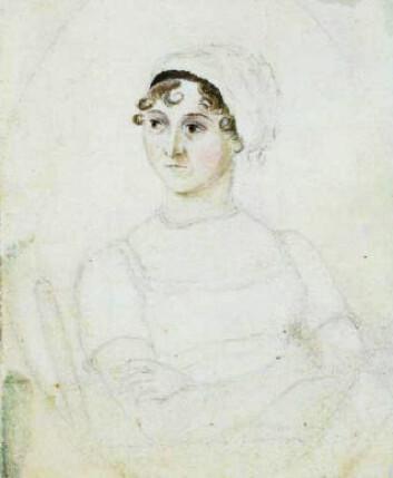 """""""Den 25 år gamle Jane Austen, malt av søsteren Cassandra, hennes nærmeste. (Kilde: Wikimedia Commons)"""""""