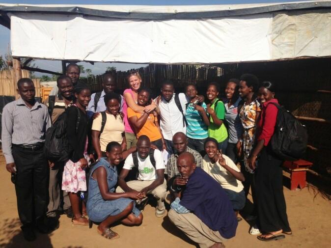 Fieldworkers in Nakivale, Uganda with researcher Ingunn Bjørkhaug.