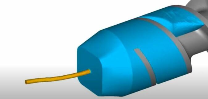 Dette er prinsippet i metoden som kalles skruekstrudering. Her benyttes kraft, ikke varme, ubehandlet metallspon mates inn og fast metall kommer ut.
