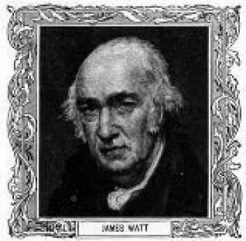 """""""Oppfinneren James Watt (1736-1819) var også skotte. I 1769 patenterte han sin forbedring av dampmaskinen, og ble med det et av symbolene for den industrielle revolusjon."""""""