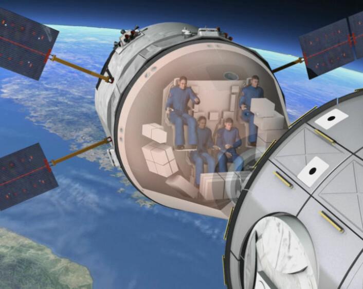 Planlagt bemannet videreutvikling av det europeiske ubemannede lasteromskipet ATV. (Illustrasjon: Fra ESA-video)