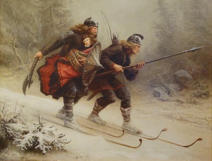 Birkebeinerne Torstein Skevla og Skjervald Skrukka – her på Knud Bergsliens maleri – er et tidlig eksempel på hvordan kombinasjonen av ski og våpen har vært viktig i den militære norgeshistorien.
