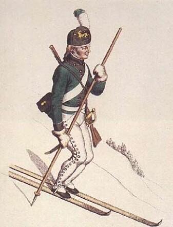 Slik kunne en skiløpersoldat se ut i 1811, tegnet av Johannes Senn. Tre år senere stemte eidsvollsmennene ned et forslag om å innføre ski og skyting som en del av norske menns nasjonaloppdragelse.