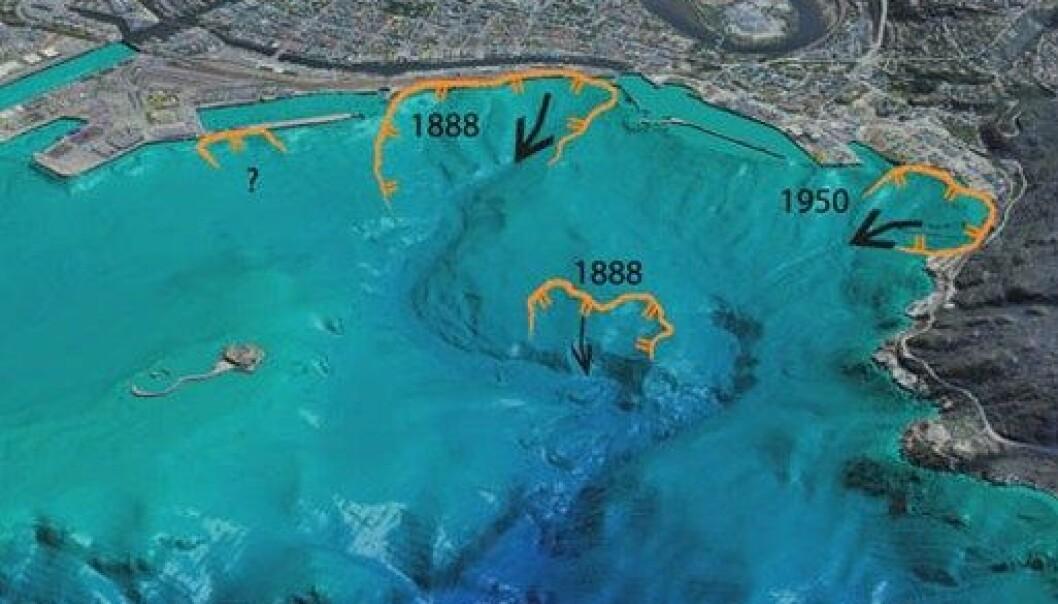Her ser vi hvor de undersjøiske skredene utenfor Trondheim havn har gått de siste 120 årene. Et grunt skred utenfor moloen ved turistskipkaia er ikke datert. (3D-illustrasjon: Jean-Sebastien L'Heureux/John Dehls)