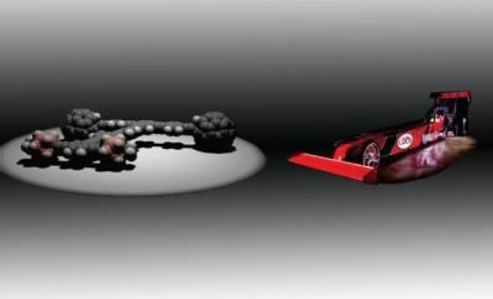 """Den nye """"nanodragsteren"""" (til venstre) baner veien for molekylære maskiner som kan fabrikkere datakretser og andre elektroniske komponenter."""