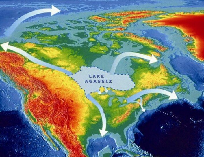 Enorme mengder ferskvann fra den forhistoriske Agassiz-sjøen kan ha strømmet ut i Atlanterhavet og forårsaket en kraftig nedkjøling i vår del av verden for knappe 13 000 år siden. Kartet viser ulike veier vannet kan ha tatt. Nye geologiske funn presentert i siste utgave av Nature viser spor av kjempeflom gjennom Mackenzie-vassdraget i dagens Canada.