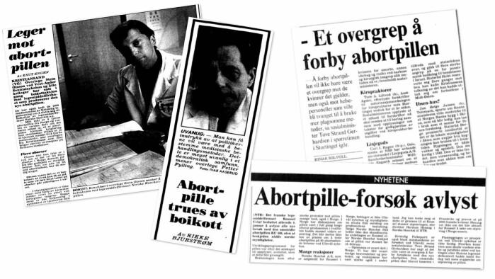 Det franske legemiddelfirmaet Roussel Uclaf skulle allerede i 1989 prøve ut abort med medisiner på pasienter ved Ullevål sykehus. Politisk støy og press gjorde at de trakk søknaden sin.