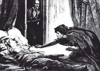 Illustrasjon av Carmilla fra magasinet The Dark Blue av D. H. Friston, 1872. Historien om Carmilla ble skrevet av Joseph Sheridan Le Fanu, 25 år før Bram Stoker's Dracula.