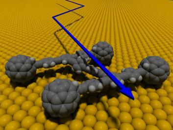 Digital modell av Nanocar 1, den første nanobilen med fire fulleren-hjul. (Bilde: Rice University)