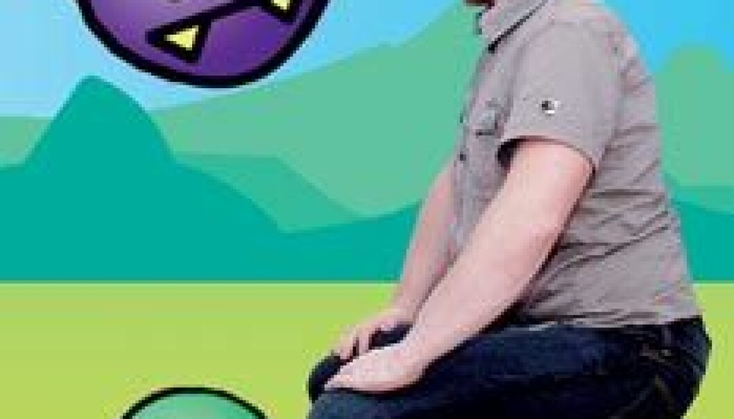 """""""- Ikke med vold, men med kunnskap nedkjempes mattemonsterene i spillet, forklarer spilldesigneren Peter Måseide. Foto: Kim Nygård/grafikk P. Måseide."""""""