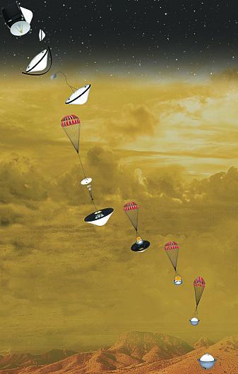Sonden skal bremses av en fallskjerm på vei ned igjennom atmosfæren.