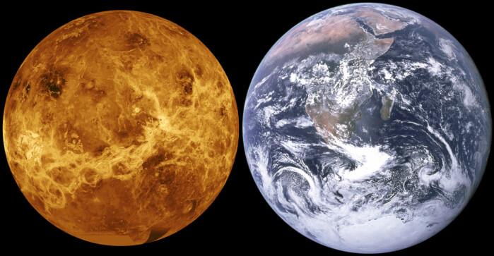 Venus og jorden er nesten like store. Venus kalles iblant for jordens onde tvilling.