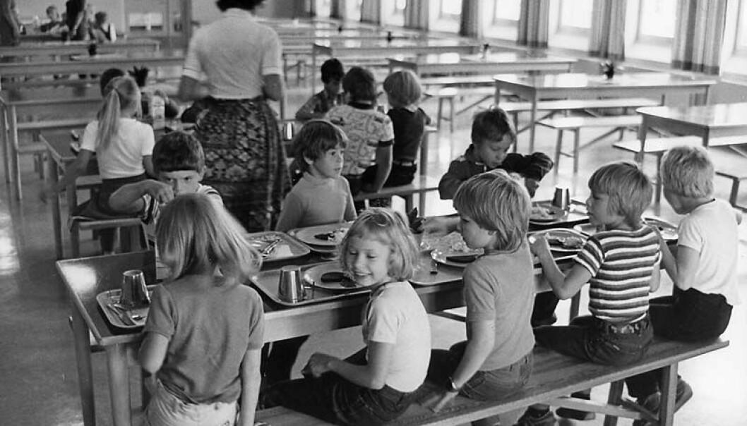 Skolemåltid i Sorsele kommune i Sverige på slutten av 1970-tallet