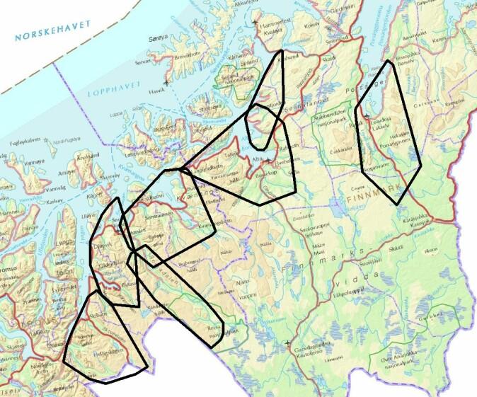 Kartet viser årlige leveområder (sorte markeringer) for sju voksne hunngauper fulgt med GPS-sendere i Troms og Finnmark 2008–2009.