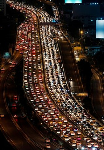 The transport sector accounts for the highest share of energy consumption. This photo from Bangkok.