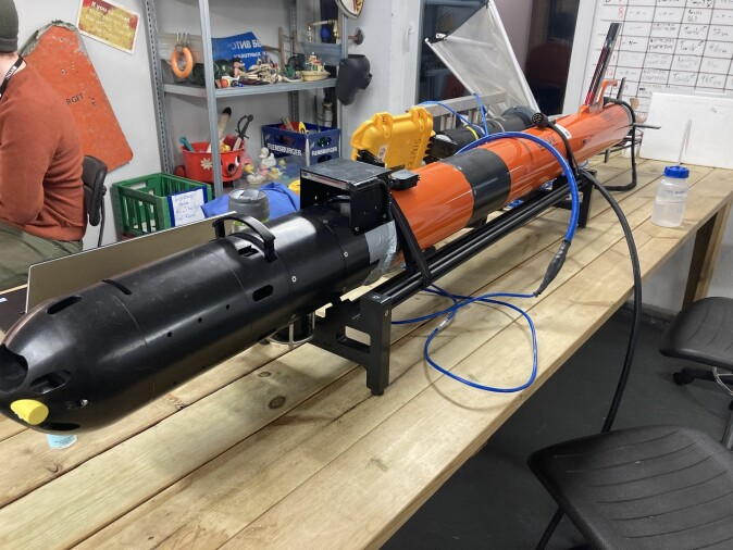 The star of the show: The lightweight autonomous underwater vehicle on a workbench, before deployment.